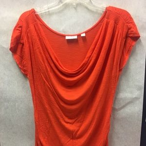New York & Co Cowl Neck Orange Top